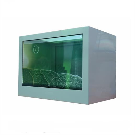 transparent screen, transparent showcase,freestanding screen, digital display, product display