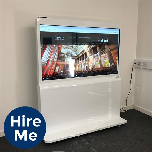 landscape freestanding display 4k for hire, freestanding interactive screen for hire, events hire