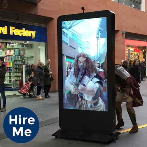 freestanding totem, freestanding digital sign, digital sign, street advertising display, freestanding kiosk
