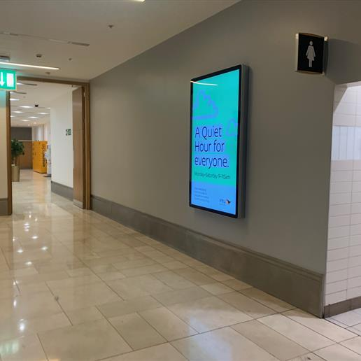wall mounted screen, wall mounted poster display, digital signage, advertising screen