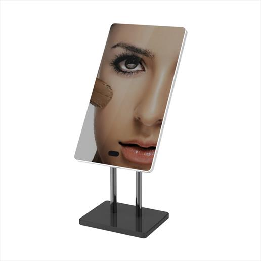 mirrored display, interactivedispaly, battery operated display freestanding digital display