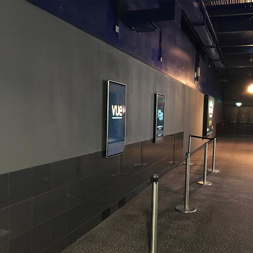 Vue Cinema Digital signage, Digital signage roll out, indoor digital signage, digital signage, video wall screens, narrow bezel video walls, bespoke digital signage, custom digital signage
